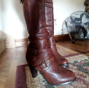 0c2a79aa06c JustFab Shoes - Cognac Buckle Boots